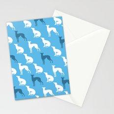 Greyhound Dogs Pattern On Blue Color Stationery Cards