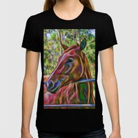 Portrait Of Beautiful Ho… Womens Fitted Tee Black SMALL