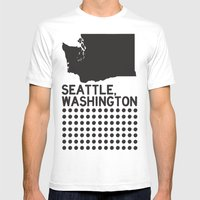 SEATTLE WASHINGTON Mens Fitted Tee White SMALL