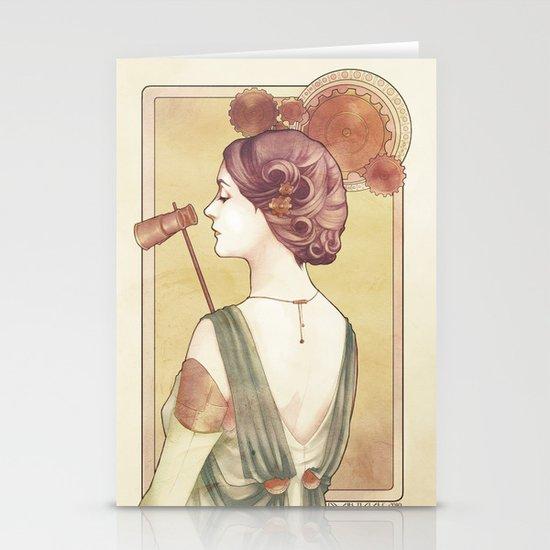 Steampunk Lady Stationery Card