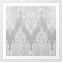 Lace & Shadows 2 - Monochrome Moroccan doodle Art Print
