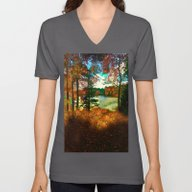 Trees And Shadows In New… Unisex V-Neck