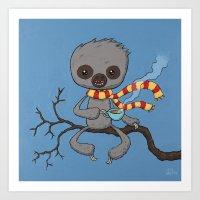 Sloth Drinking Tea Art Print