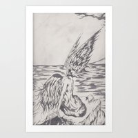 angel on rocks Art Print
