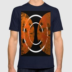 Resonance - Abstract in gold, black and white Mens Fitted Tee Navy SMALL