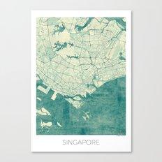 Singapore Map Blue Vinta… Canvas Print