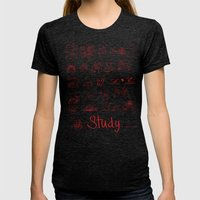 Study... Womens Fitted Tee Tri-Black SMALL