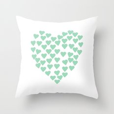 Hearts Heart Mint Throw Pillow