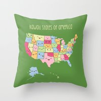Kawaii States of America Throw Pillow