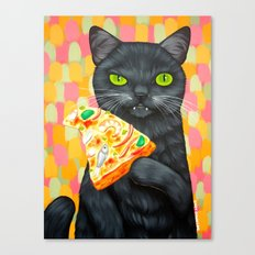 CAT AND PIZZA/SEAFOOD COMBO Canvas Print