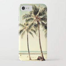 Retro Vintage Palm Tree with Hawaii Summer Sea Beach iPhone 7 Slim Case