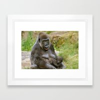 Gorilla Mother and Baby Framed Art Print
