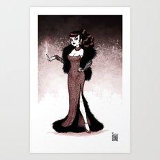 Lady Smoke Art Print