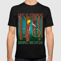 Life is strange, riding bicycle Mens Fitted Tee Tri-Black SMALL