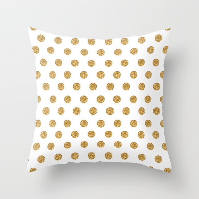 Gold Glitter Polka Dots Throw Pillow by Cute & Co. Society6