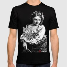 Young Girl with Cat Mens Fitted Tee SMALL Black