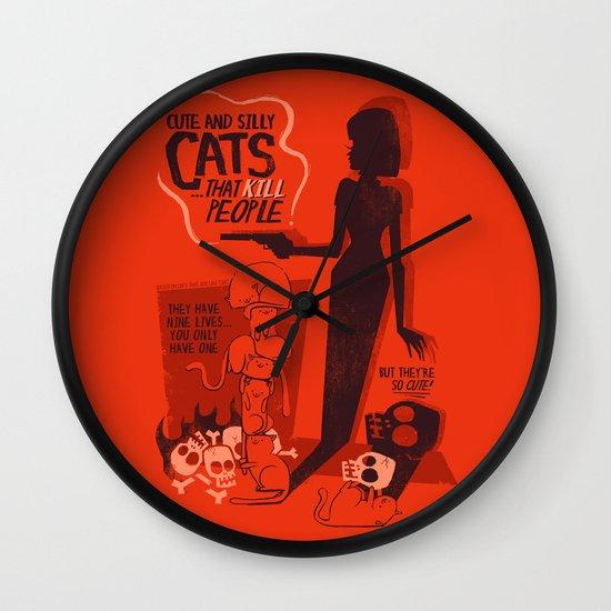 Cat Movie - orange Wall Clock