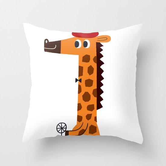 giraffe driver Throw Pillow