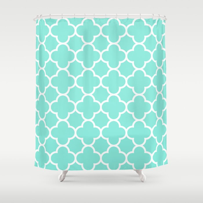 MOROCCAN TEAL Amp WHITE Shower Curtain By Natalie Sales