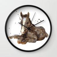 Horse painting, watercolor horse, horses Wall Clock