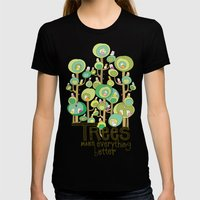 Trees Make Everything Better Womens Fitted Tee Black SMALL