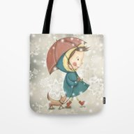 Tote Bag featuring Christmas&snow by Lisa Ciccone