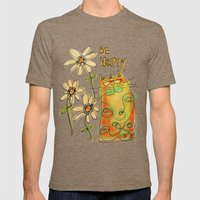 Be Happy Mens Fitted Tee Tri-Coffee SMALL
