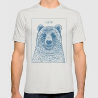 Bear (Ivory) Mens Fitted Tee Silver SMALL