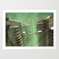 3D Illustration Futuristic City Art Print