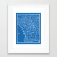 Los Angeles Street Map Framed Art Print