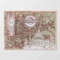London Sewn Drawing Canvas Print