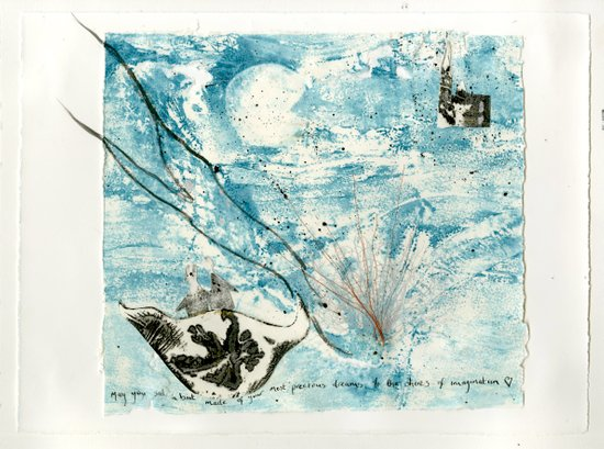 Mermaid of Zennor collagraph 2 Art Print