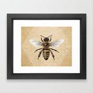 Framed Art Print featuring Bee by Paper Skull Studios