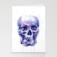 Skull Watercolor Stationery Cards