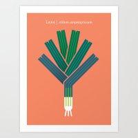 Vegetable: Leek Art Print