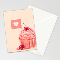 Cherry Heart Cupcake Stationery Cards