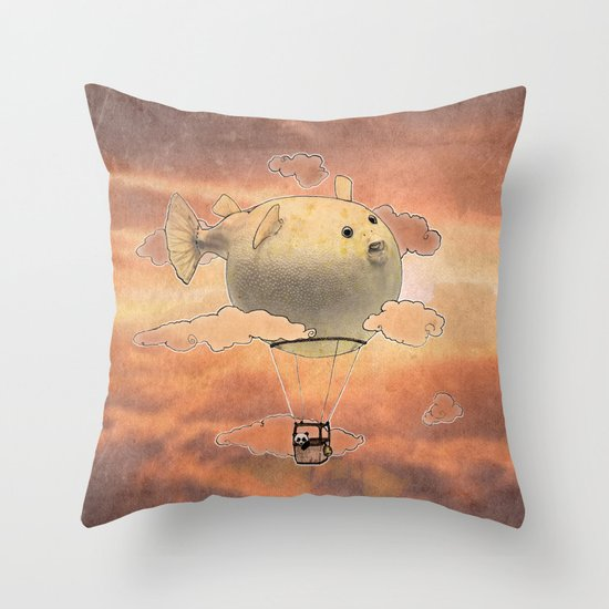 Panda fliying in a Blow fish 2 Throw Pillow