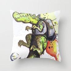 Dinosaur wearing Jetpack Throw Pillow