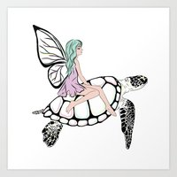Fairy/ Turtle  Art Print