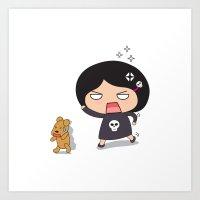 Run teddy, run! Art Print