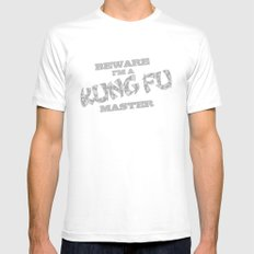 Beware I'm a Kung Fu Master Mens Fitted Tee White SMALL