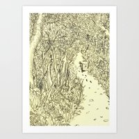 following footprints Art Print