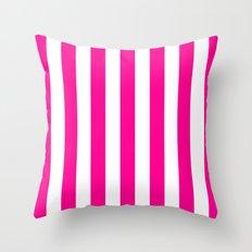 Vertical Stripes (Magenta/White) Throw Pillow