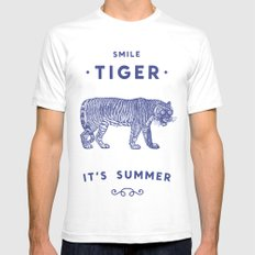 Smile Tiger, it's Summer SMALL White Mens Fitted Tee