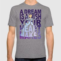 Disney's Cinderella A Dream is a Wish Your Heart Makes in Double Purple Mens Fitted Tee Tri-Grey SMALL