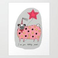 Birthday Pug Art Print