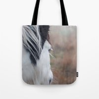 Profile of a Black and White Horse Tote Bag