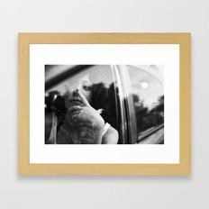 portrait through the car window Framed Art Print