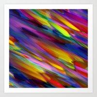 Colorful digital art splashing G398 Art Print