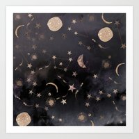 glitter Art Prints featuring Constellations  by Nikkistrange